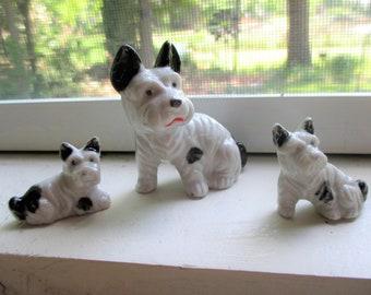 Three Ceramic Scottish Terrier Figurines