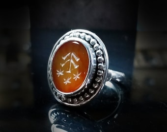 Tree Stars Variant Intaglio Ring Size 10 Tiger Stripe Honey Agate
