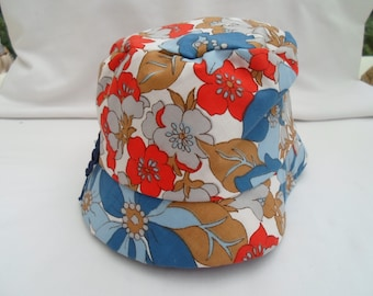 White,red and blue cotton hat