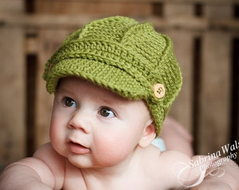 Newsboy Hat  - Baby Hats - Crochet Baby Cap - Baby Hat - by JoJosBootique
