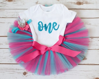 Girls first birthday outfit 'Everleigh' pink turquoise girls first birthday outfit pink first birthday crown headband 12 month tutu outfit