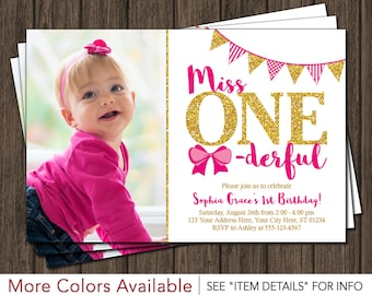 Miss ONEderful Birthday Invitation - Miss One-derful Birthday Invitations - Hot Pink and Gold First Birthday Invite