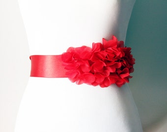 Bridal Sash Belt Wedding Sash Belt - Red Chiffon Flowers Ribbon Sash Belt - Wedding Dress Sashes Belts