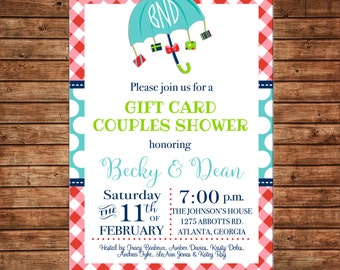 Invitation Gift Card Shower Baby Bridal Wedding Birthday Party - Can personalize colors /wording - Printable File or Printed Cards