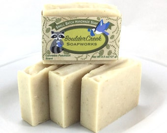 Cannabis Patchouli Scented Handmade Soap Hippie Gift Colloidal Oatmeal Colorado Life Batch #263