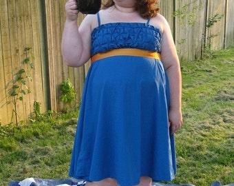 Plus Size Teal Empire Waist Party Dress 20W - 24W adjustable