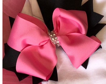 Pink & black boutique bow