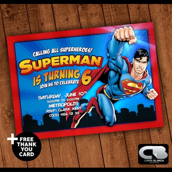 Tarjetas De Invitacion Cumpleaños Superman Ideas