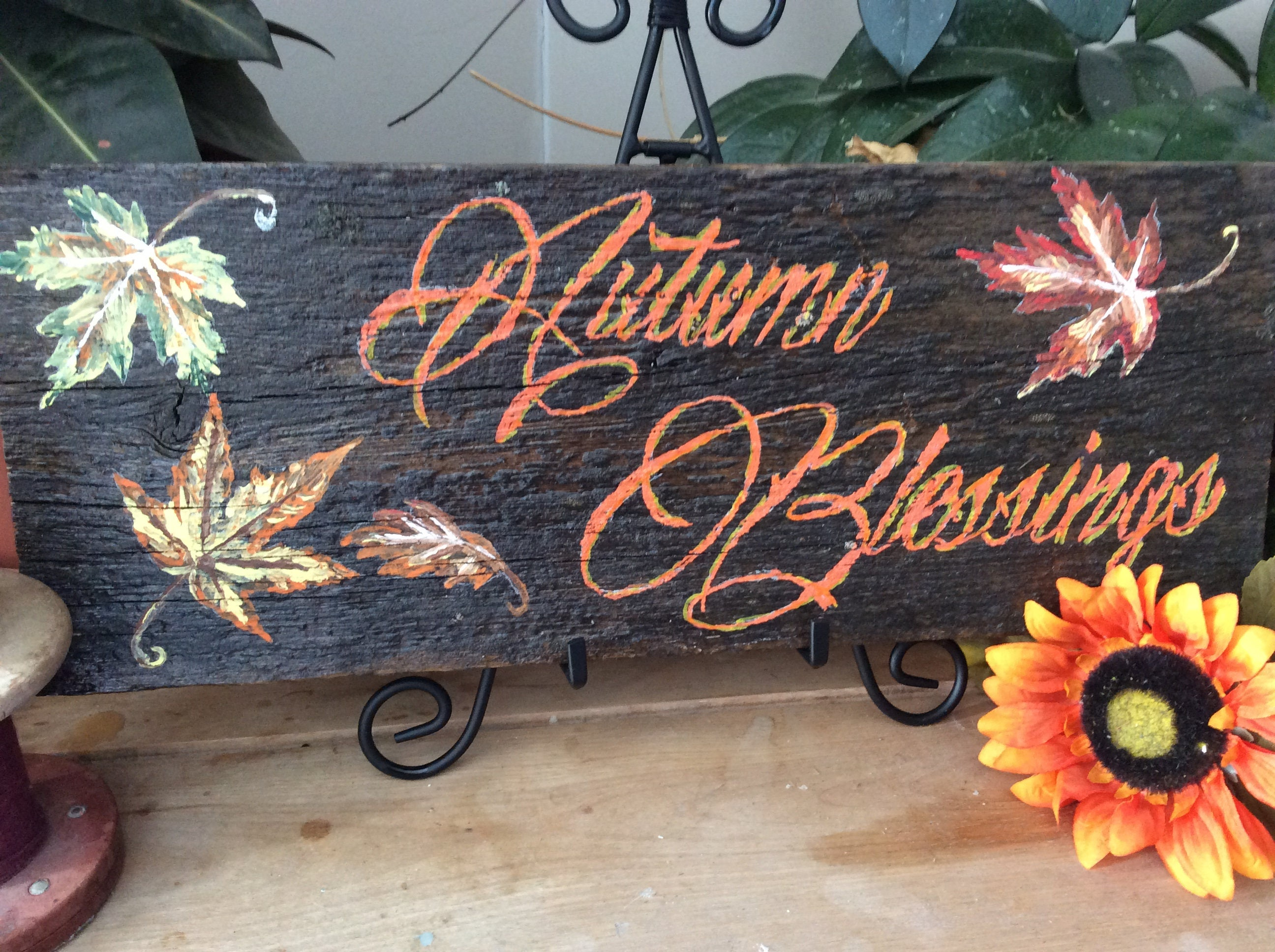 Fall Kitchen Decor Thanksgiving Rustic Home Country Barnwood Sign Leaves Autumn Blessings