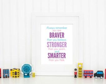 Always remember you are Braver, Girls Room Print, Baby Boy Nursery Art, Baby Girl Nursery