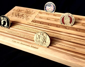 Army Soldier's Creed Military Challnge Coin Display Holder - customizable - personalized