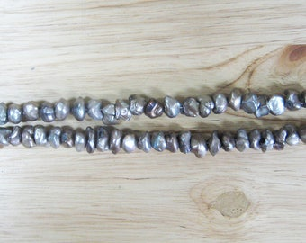 "Grey Freshwater Pearl Nuggets - 15"" Strand (6-9mm)"