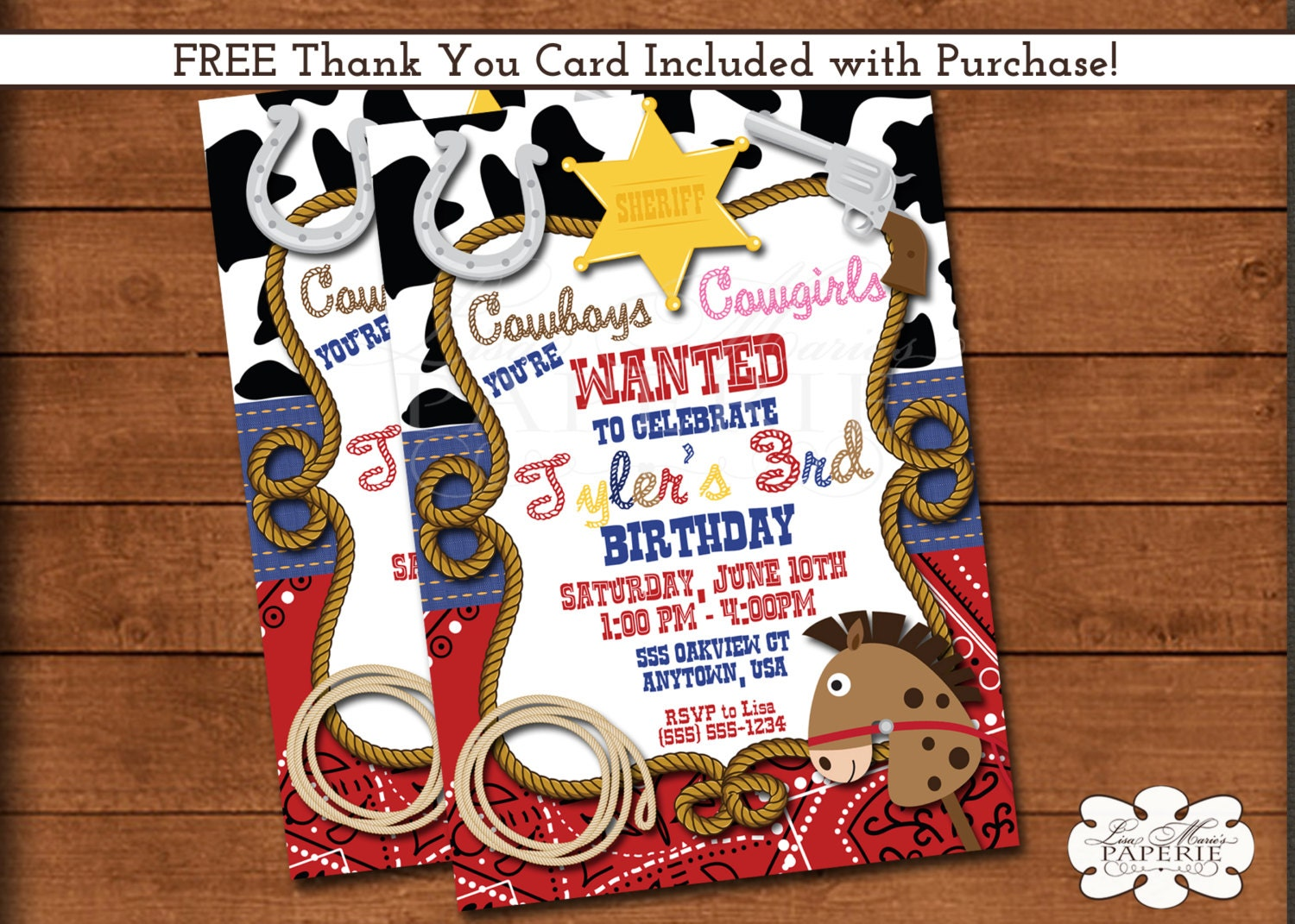 cowboy birthday invitation sheriff birthday party invitation