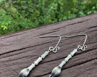 Handmade Silver Beaded Wire Earrings