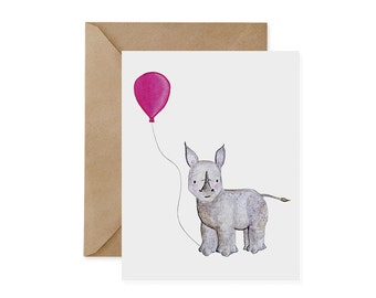 Black Rhino Card / Pink Balloon - EcoFriendly Card, Rhinos, Endangered, Recycled, Gives Back, Renewable Energy, Wildlife Conservation