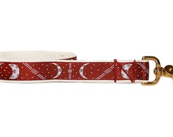 Maroon moon cycle dog leash, modern dog lead, cotton and brass