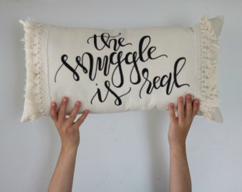 Lumbar Throw Pillow - The Snuggle is Real, quote pillow, wedding gift, engagement gift, romantic decor, fringe pillow, long pillow