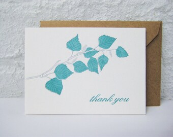 Letterpress Thank You Card - Thank you - Birch Tree Branch - Appreciation - nature - green - grey - tree - leaves - botany