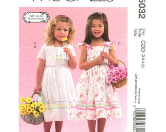 Girls Dress Pattern McCalls 5032 Flower Girl Dress Bolero Jacket Sundress Ruffle Sleeve Girls Size 2 3 4 5 Sewing Pattern UNCUT