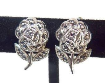 Sterling Silver Marcasite Flower Screw on Earrings Floral Earrings Flower earrings Sterling Earrngs Marcasite earrings Art Deco