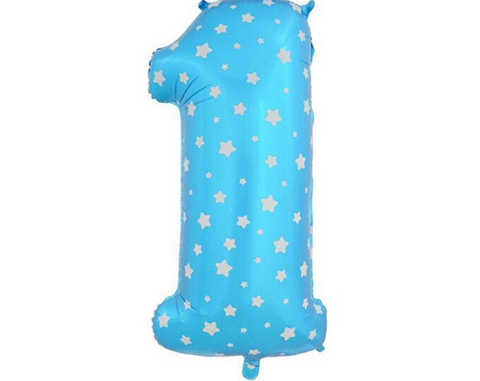 """40"""" inch Blue First Birthday Giant Balloon - Jumbo Number 1 Balloon - Blue Stars Number ONE"""