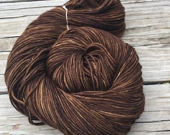 Hand Dyed DK Yarn Walk the Plank dark brown Hand Painted yarn 274 yards handdyed dk sport weight Superwash Merino Wool swm chocolate brown