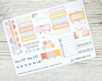 Watercolour Hobonichi Weekly Planner Stickers; Summer Kit; Weekly Sticker Kit; Hobonichi Techo Cousin Sticker