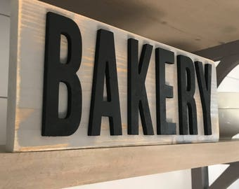 Charming Distressed Bakery Sign  Customizable   3D Letters   Kitchen Decor   Shelf  Decor