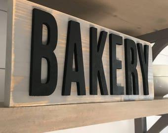 Nice Distressed Bakery Sign  Customizable   3D Letters   Kitchen Decor   Shelf  Decor
