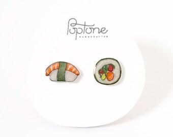 Sushi Earrings, Sushi jewelry, food earrings, Japanese sushi stud earrings