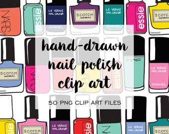 Nail Polish Hand Drawn Clip Art (Instant Download) clip art, hand drawn, handdrawn, illustration, nail polish, nail art