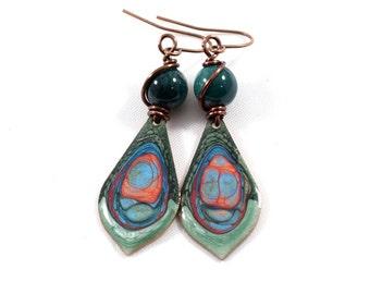 Handmade Earrings, Paint and Resin Earrings, Dark Teal Earrings, Swirl Earrings, Copper Earrings, Artisan Earrings, Boho Earrings, AE202