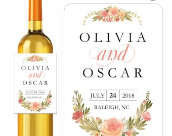 Wedding Wine Labels Shabby Floral Roses Designer Labels Waterproof Vinyl