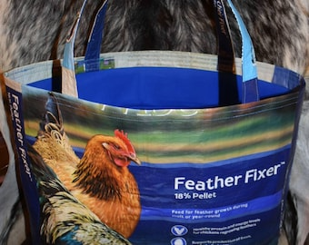 Recycled feed sack chicken/roosters and a blue fabric liner tote/bag/purse/shopping/grocery bag