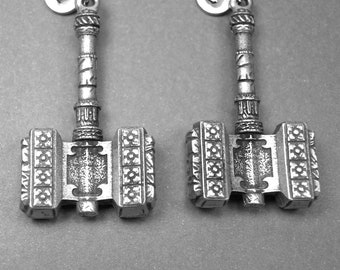 Hammer necklace, best friend necklace, large square hammer, best friend jewelry, best friend gift, initial necklace, personalize necklace