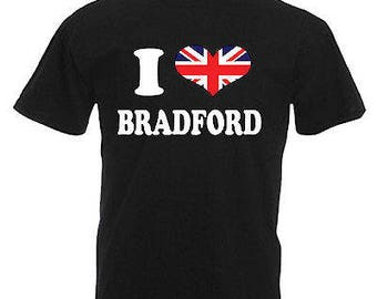 I love heart bradford adults mens t shirt 12 colours size s - 3xl