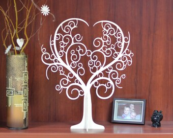 wedding Wishing Tree with 50 tags, wedding tree guest book, wedding thanks tags, wooden tree, wedding decor