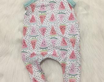 Watermelon Baby Romper - Fruit Harem Romper - Pink Romper - Mint Romper - Summer Romper - Baby Girl Romper - Toddler Romper - pants