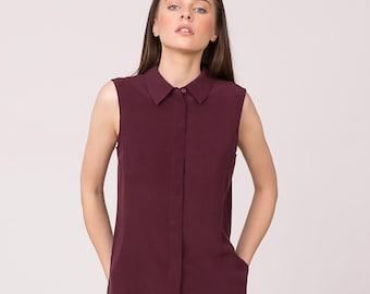 Pure Silk Sleeveless Shirt Maroon
