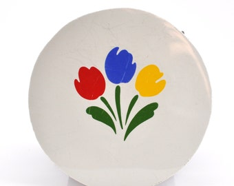 Broken China Mosaic Tiles - Primary Color Tulips - Recycled Plates - Round Tile - Focal