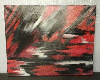 Original Abstract Painting, Acrylic Painting, Wall Art, Red and black painting