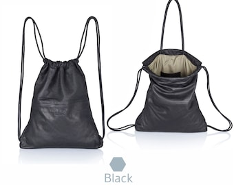 Black leather backpack purse - multi leather bag SALE soft leather bag leather sack bag leather handbag rucksack leather hobo backpack tote