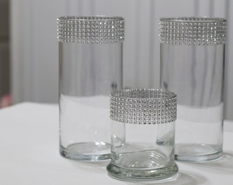 5 - PIECE Rhinestone Bling Cylinder candle holders and vases