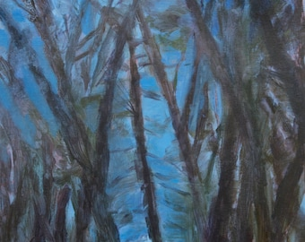 fine art painting - Through Trees to Warners Pond - medium size painting wall decor - affordable original artwork by Irene Stapleford
