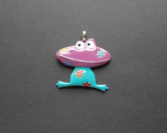 Blue enameled frog pendant / purple