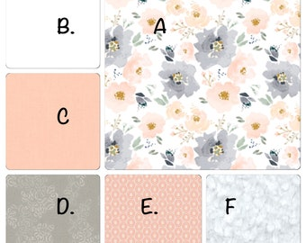 Baby Bedding Peach and Gray Watercolor Floral Ruffled Nursery Set
