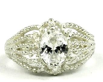 Cubic Zirconia (CZ), 925 Sterling Silver Ladies Ring, SR365
