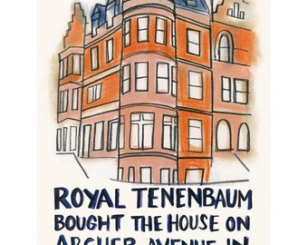 "Wes Anderson - Film art print - film quote - The Royal Tenenbaums -   4"" X 6"" print - 4 for 3 SALE"