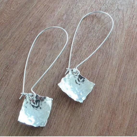 Long Sterling Silver Geometric Square Hammered Earrings - Simple - Modern - Elegant - Statement - Lightweight - Eye Catching - Handmade -