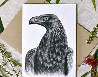 Wedge-tailed eagle greeting card with envelope, A6 print of original charcoal drawing, Australian wildlife art